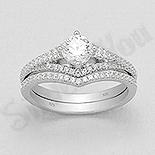 Bijuterii argint de mireasa - Set 2 inele argint cu zirconii albe - AS106