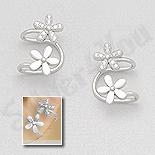 """- Cercei argint """"ear cuf""""  floare cu zirconii albe - AS116"""