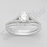 INELE ARGINT - Noutati! - Set 2 inele argint logodna cu zirconii albe - AS115