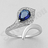 INELE - Inel argint logodna cu zircon albastru - AS114