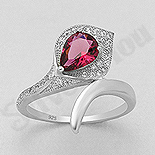 INELE - Inel argint logodna cu zircon rosu - AS113