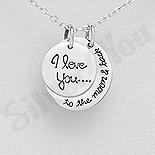 Bijuterii cu Mesaj - Pandantiv argint banut si semiluna cu mesaj - AS143