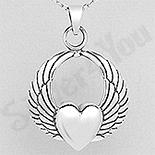 REDUCERI - Pandantiv argint aripi de inger cu inima - AS145