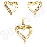 Bijuterii in Culoarea Aur 14K - Set pandantiv si cercei inima - ZS107
