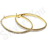 Cercei inox aurit ovali cu zirconii albe - BR760
