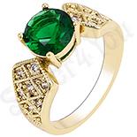 Inel aurit cu aur 14K si zircon verde si alb - ZS231