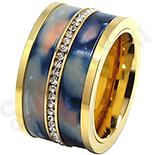INELE - Inel inox aurit cu zirconii albe si ceramica - LR252