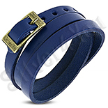 BRATARI PIELE - De SEZON! - Bratara piele albastra tip curea - PK6071