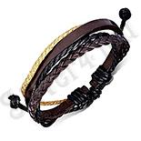 Bijuterii Inox - Bratara piele maro si negru - PK6075