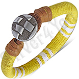 Bijuterii Inox - Bratara piele si siret galben cu alb - PK6077