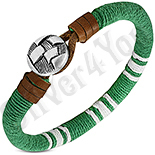 Bijuterii Inox - Bratara piele si siret verde cu alb - PK6080