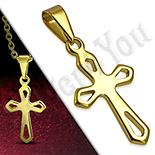Pandantive crucifix - Cruce inox aurit perforata - PK6021