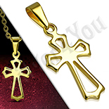 Pandantive crucifix - Cruce inox aurit floare de crin perforata - PK6022