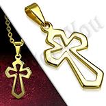 Pandantive crucifix - Cruce inox aurit medieval perforata - PK6023