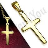 Pandantive crucifix - Cruce inox aurit model latin - PK6025