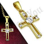 Pandantive crucifix - Cruce inox aurit cu zirconiu - PK6029