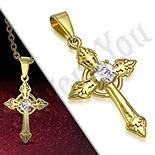 Pandantive crucifix - Cruce inox aurit floare de crin - PK6030