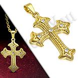 Pandantive crucifix - Cruce inox aurit floare de crin - PK6032