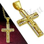 Pandantive crucifix - Crucifix inox aurit cu zirconii albe - PK6034