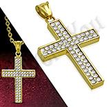 Pandantive crucifix - Cruce inox aurit cu zirconii albe - PK6035