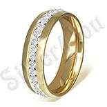 - Inel inox aurit cu zirconii albe - PK6003