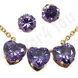 Bijuterii Indragostiti - Set colier si cercei inox aurit cu zirconiu mov - LR261