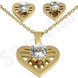 Bijuterii Indragostiti - Set colier si cercei inox aurit cu inima cu zircon alb - LR265