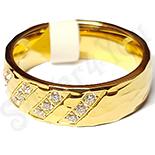 - Inel inox aurit cu zirconii albe - LR323