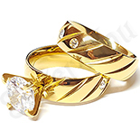 Bijuterii Inox - Set verigheta si inel cu zirconii albe - LR5088A