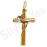 Pandantive crucifix - Cruce din inox aurit - LR361