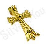 Pandantive crucifix - Cruce inox aurit floare de crin model masiv - LR410