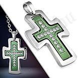 Pandantive crucifix - Cruce inox in 2 tonuri  si zirconii albe - LR373