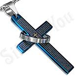 Bijuterii Inox - Cruce din inox cu rugaciune si inel 5.2 cm/3 cm - LR375