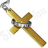 PANDANTIVE - Cruce din inox cu rugaciune si inel - LR376