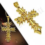 Pandantive crucifix - Cruce inox aurit model masiv - LR416