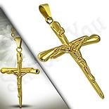 Pandantive crucifix - Crucifix inox aurit - LR418