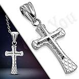 Pandantive crucifix - Cruce inox model dublat - LR419