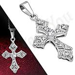 Pandantive crucifix - Cruce inox cu zirconii albe - LR483