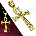 Pandantive crucifix - Cruce inox aurit cu zirconii albe - LR412