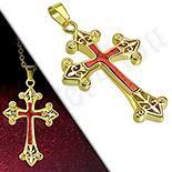 Pandantive crucifix - Cruce inox aurit floare de crin - LR408