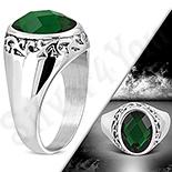 Bijuterii Inox - Ghiul cu zircon verde multifatetat si model - LR366