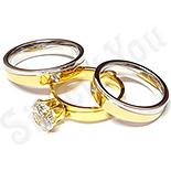 - Set 2 verighete si inel logodna inox - BR791