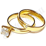 Set inel si verigheta inox aurit cu zirconii albe - LR389