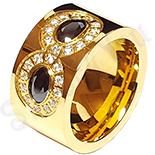 Bijuterii Inox - Inel inox aurit cu zirconii negre si albe - LR385
