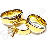 Set 2 verighete si inel logodna inox - BR704
