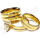 Bijuterii Inox - Set 2 verighete si inel logodna inox - BR700
