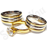 Inele De Logodna - Set 2 verighete si inel logodna inox - BR701