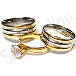 Bijuterii Inox - Set 2 verighete si inel logodna inox - BR701