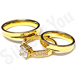 INELE ARGINT - Noutati! - Set 2 verighete si inel logodna inox - BR702