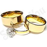 Bijuterii Inox - Set 2 verighete si inel logodna inox - BR705